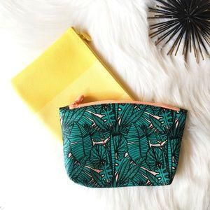 2 Ipsy Makeup Bags Tropical & Yellow Bag